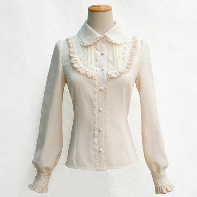5 Colors Winter Fleece lined Lantern sleeve Solid Color Accordion Shirt Bowtie Lace Agaric hem Women Vintage Royal Blouses