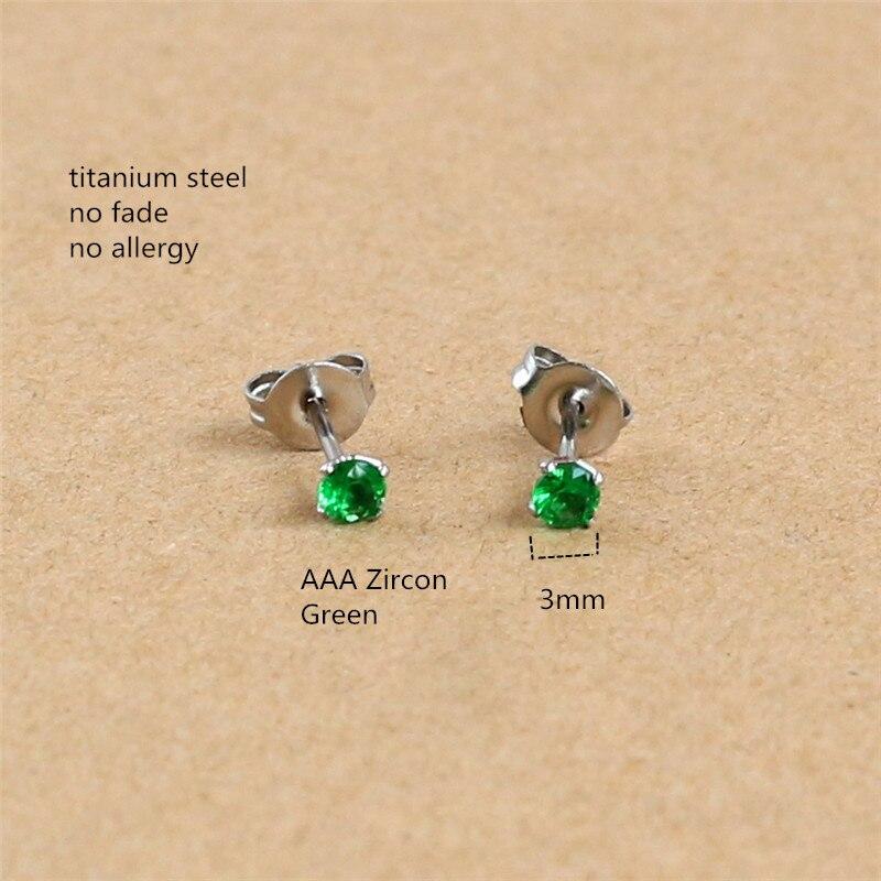 Круглые серьги пусеты из титана с 3 мм зеленым цирконием, нержавеющая сталь 316L IP, не выцветает, не вызывает аллергию|Серьги-гвоздики|   | АлиЭкспресс