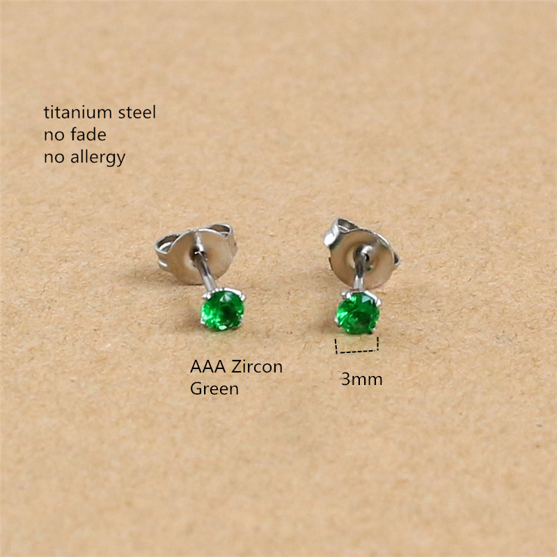 Titanium With 3mm Green Zircon Round Stud Earrings 316L Stainless Steel IP Planting No Fade No Allergy