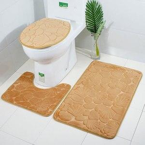 Image 3 - Zeegle 3 szt. Komplet dywaników łazienkowych toaleta U typ Mat maty prysznicowe chłonny dywanik antypoślizgowy mata podłogowa mata podłogowa pokrywka wc