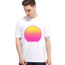 Vaporwave RetroWave Men's Casual T Shirt Sun with Alpha Background Print Male Short Sleeve T-shirt Synthwave Outrun Futuresynth(China)