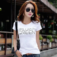 GG509 new women's print undershirt, round collar, letter trend, women's short sleeved T shirt