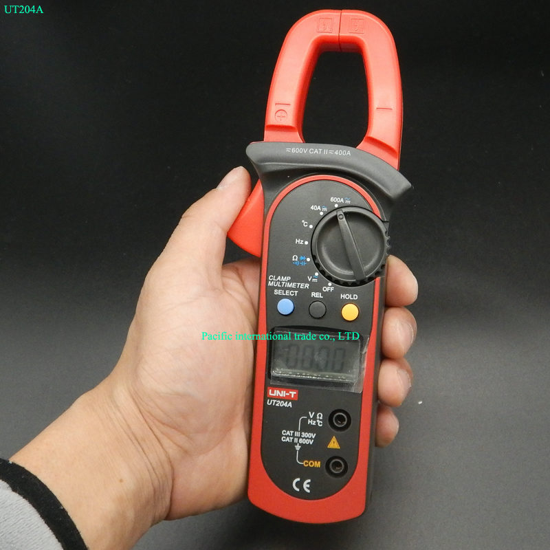 Digital  Handheld Clamp multimeter UNI-T UT204A professional True RMS LCD Multifuction  Ohm DC AC Voltmeter AC Ammeter Data Hold uni t ut60d ut 60d lcd handheld digital multifunction multimeter with autorange bandwidth 100khz 3db