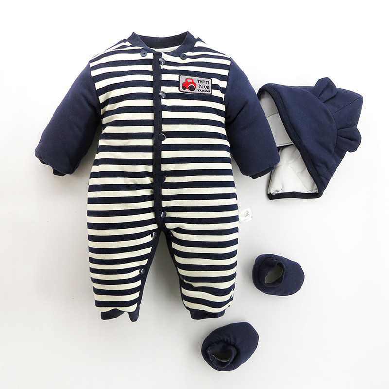 100% Cotton Newborn Striped Cartoon Car Winter Romper Long Sleeve Baby Warm Clothes Kids Cute Hooded Single Breasted Outwear newborn baby romper winter clothes hooded cotton outdoor roupas para recem nascido long sleeve baby boy winter thick 607022