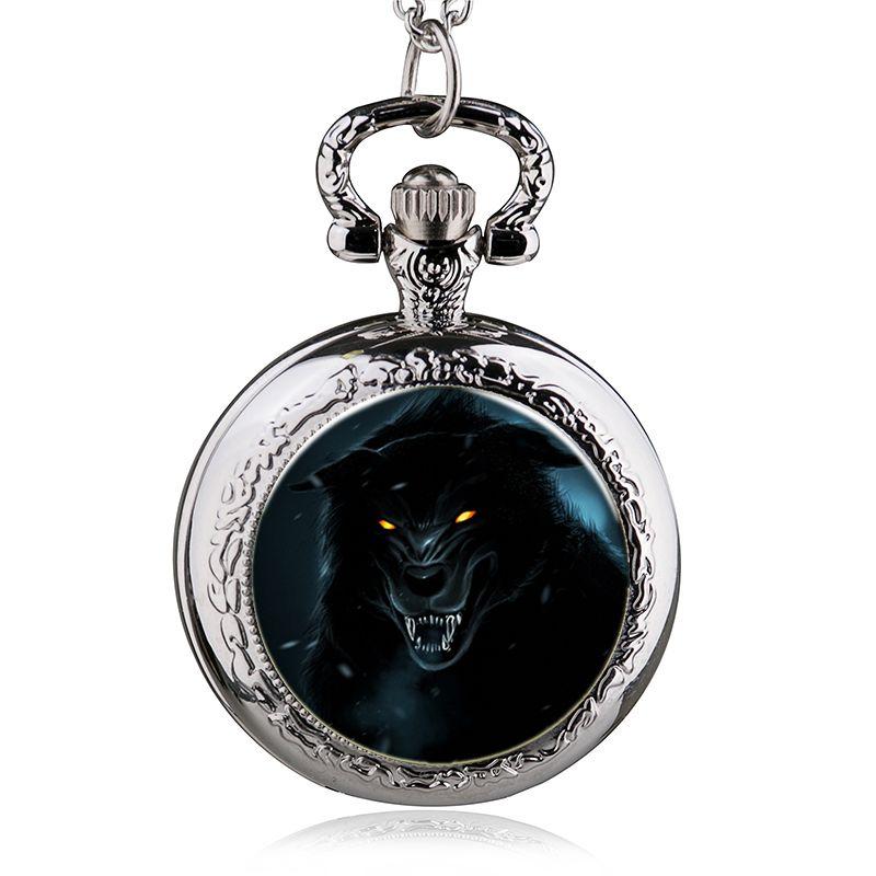 Новая мода волк кварцевые карманные часы кулон ожерелье мужские часы женские часы