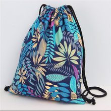 Fashion Blue Leaves Cotton&linen Cinch Sack Backpack Storage Bags for Beach Travel Shoe Laundry Makeup Man Women Drawstring Bag(China)