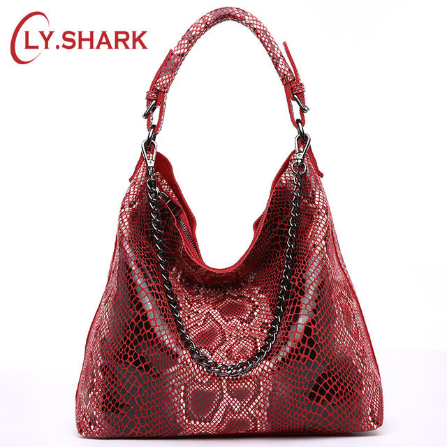 LY SHARK Genuine Leather Bags For Women Female Handbag With Serpentine Pattern Leather Bag Hobos Tote