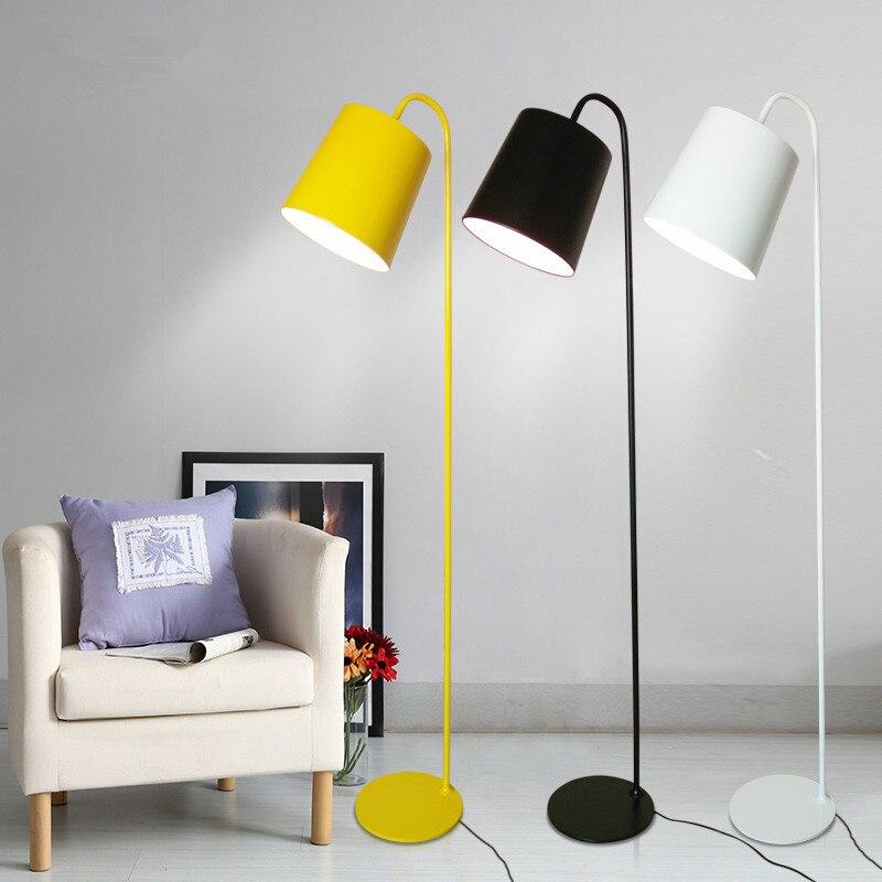 Modern H160cm Yellow/White/Black Colin Floor Lamps Lights 110V/240V E27 led Bedroom bedside Foyer Study yellow standing lamp