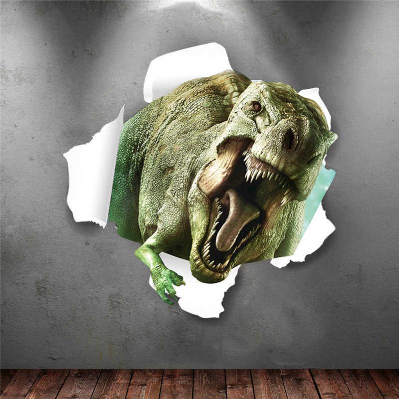 % 3d стереоскопического динозавров сломанной стены Стикеры дети гостиная спальня фон росписи home decor Виниловые Стикеры