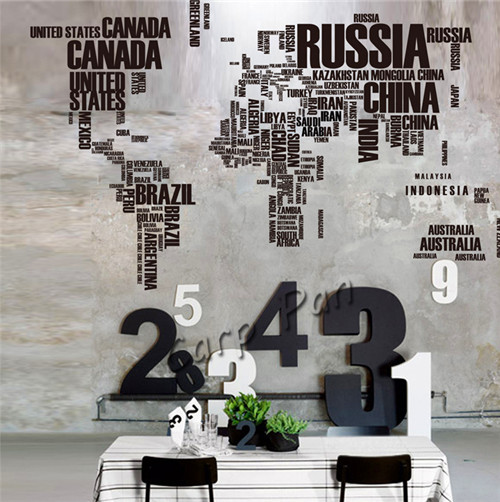 Xmm Sticker PVC Removable World Map Russia China USA - Window decals for home australia