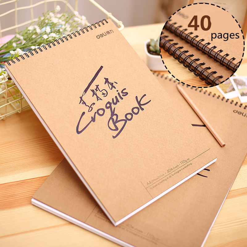 Hot sketch book blank simple kraft spiral notebook painting supplies students prizes drawing notebook school office supplies 1PC