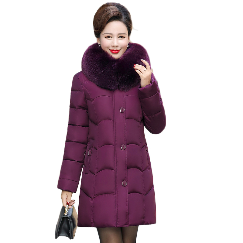 Women   Parkas   Winter Thick Down Cotton Jacket 2018 New Fashion Artificial Fur Collar Hooded Outerwear Plus Size 5XL Female Coats