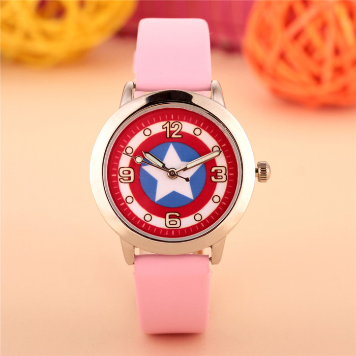 100pcs/lot wholesales hot sales fashion 3D cartoon Captain America students boys children gifts watch quartz leather wristwatch 3