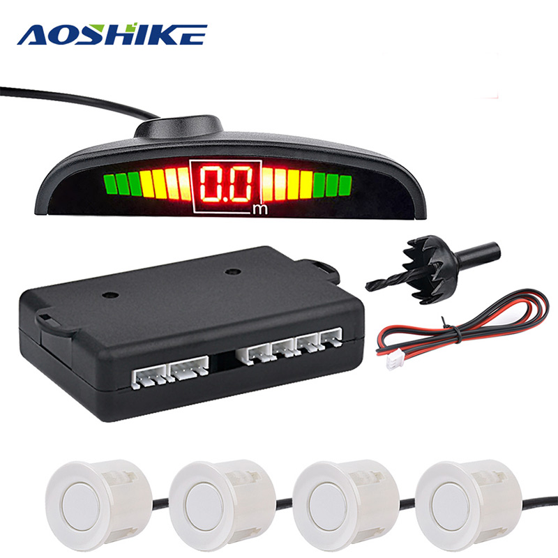 AOSHIKE Car Monitor Detector System Auto Parktronic LED Parking Sensor with 4 Sensors Reverse Backup Car Parking Radar(China)