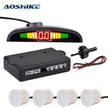 AOSHIKE Auto Monitor Rilevatore di Sistema di Auto Parktronic LED Sensore di Parcheggio con 4 Sensori di Retromarcia di Backup Auto Radar di Parcheggio