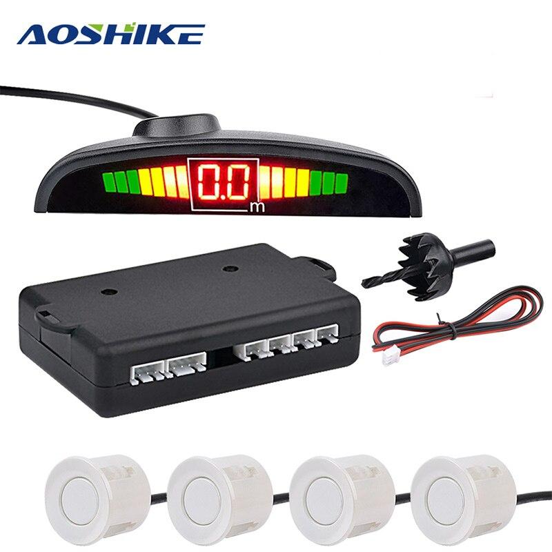 AOSHIKE Monitor de coche sistema Detector de Parktronic LED Sensor de aparcamiento con 4 sensores inverso Backup coche Radar de estacionamiento