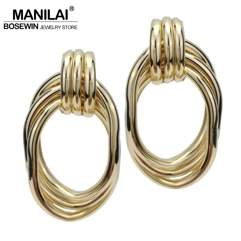 MANILAI Punk Fashion Geometric Stud Earrings Statement Gold Color Alloy Big Earrings For Women Brincos Jewelry Accessories