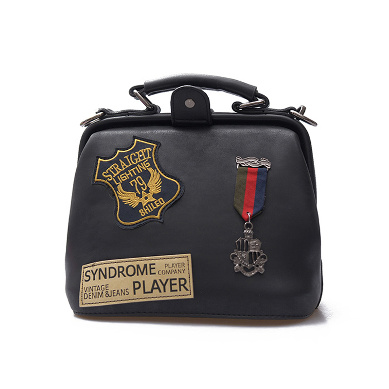 ФОТО 2017 New Women Handbag Small Retro Fashion Doctor Bag Badge Ladies Shoulder Messenger Bag  designer bags famous brand