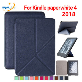 Walkers Origami Stand Magnetic Smart PU Leather Cover Case for New Amazon Kindle Paperwhite 4 6'' 2018 Release e-Reader+Stylus image