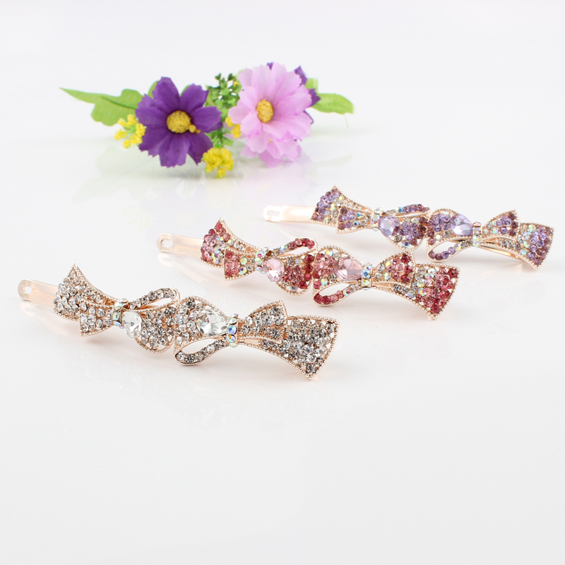 Korean Fashion Hair Accessories Bow tie Hairpins Hairclips Luxury Round Crystal  Rhinestone Hair Clip Barrette For Women-in Hair Jewelry from Jewelry ... c738d1ad591e