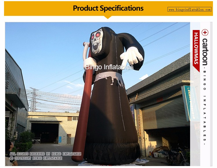 large 10m high inflatable Devil with Sickle for halloween decoration with led lighting (1)