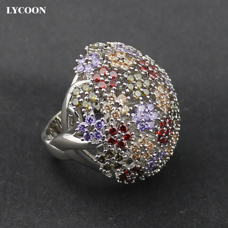 LYCOON Hot sale colorful Austria CZ Crystal elegant Engagement Rings silver plated luxury AAA cubic zirconia Jewelry ring yoursfs brand luxury wedding engagement rings for women anel ballshape austria crystal 18 k rose gold plated aaa cubic zirconia g