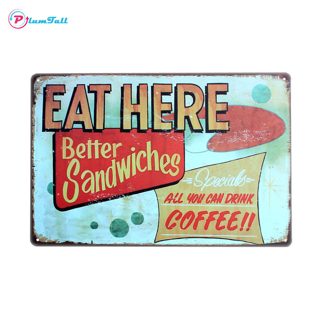Eat Here Sandwiches Coffee Retro Vintage Tin Signs Home Decor Pub Bar Cafe  Wall Art Decorative