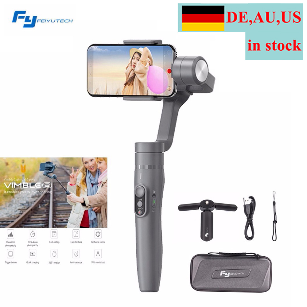 (DE Location) Feiyu Vimble 2 Selfie Stick Travel Gimbal Handheld Stabilizer for iPhone X 8 Plus 7 6 SE Samsung Galaxy S9+ S9 S8+ for iphone xs max xr xs x selfie stick for iphone x 8 7 6 6s plus 5 5s wired selfie stick extendable monopod for lightning