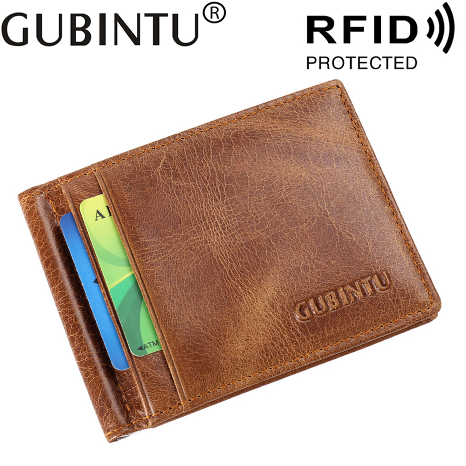 Slim RFID Business Card Holder Men Wallet Male Purse Cuzdan Genuine Leather Clamp For Money Short Vallet Small Walet Thin Perse