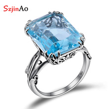 Big promotion antique sapphire jewelry rings 100% Pure 925 sterling silver for women Silver Wedding Ring