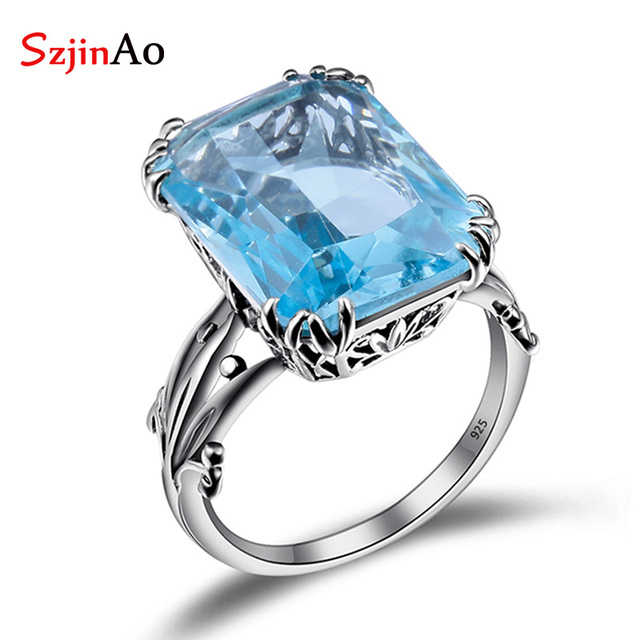 Szjinao Rings for Women Hot Genuine Sterling Silver Jewelry Boho Vintage 10ct Aq
