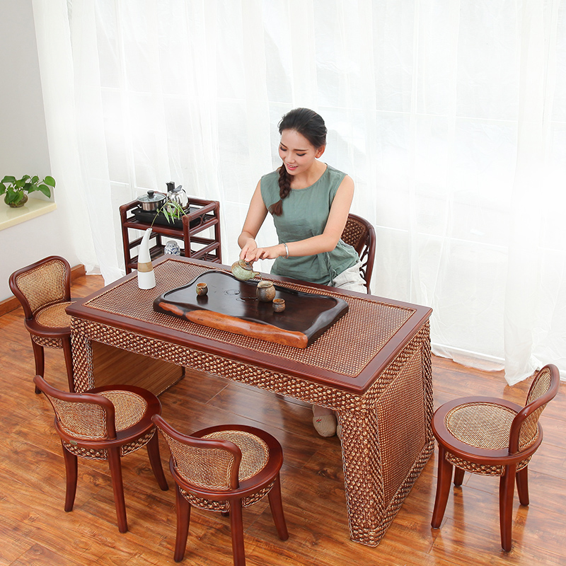 Antique Tea Tables And Chairs Combination Of Solid Wood