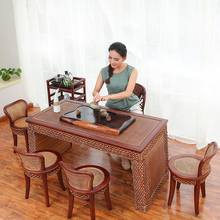 Antique tea tables and chairs combination of solid wood coffee table small balcony rattan teasideend