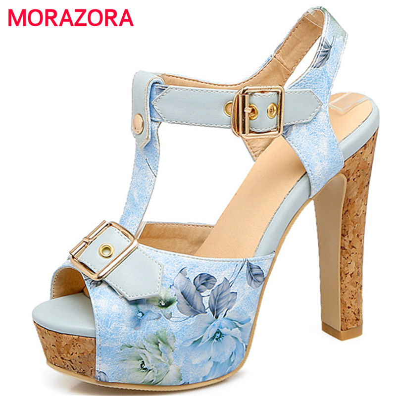 MORAZORA High heels shoes woman sandals buckle printing platform shoes summer fashion party shoes large size 34-46 morazora bind pu solid high heels shoes 5cm in summer fashion elegant party shoes sandals party large size 34 42