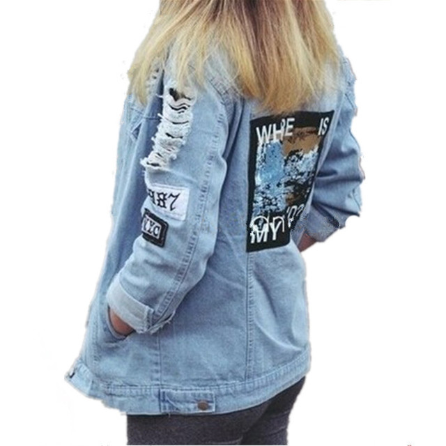 101736b8cdb9c New fashion stylish bule color BFpunk style letter embroidery frayer hole  ripped denim jacket coat outerwear for women