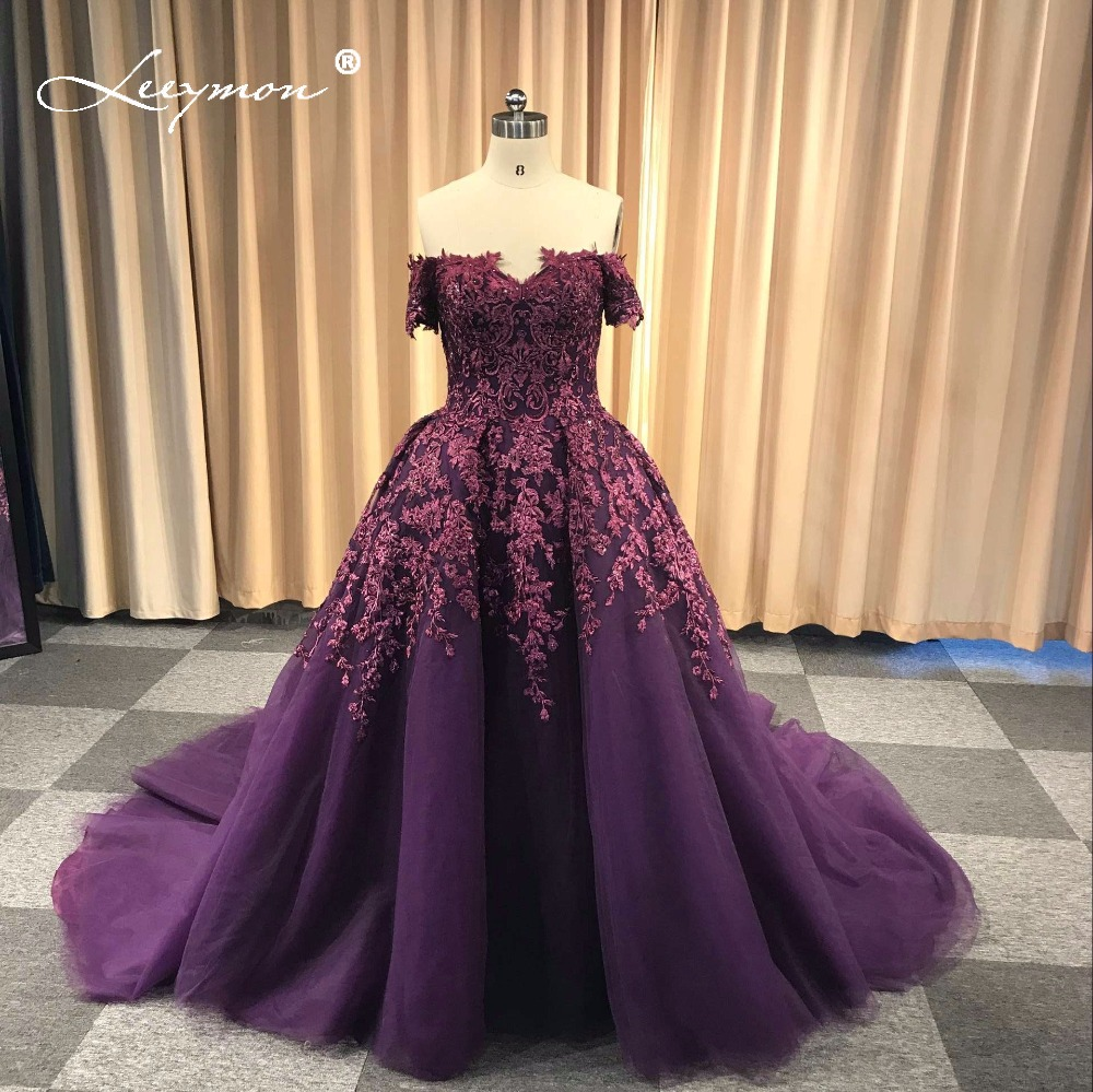 Leeymon Elegant Lace Off Shoulder Prom Dress Red Crystal Evening Dress 2019 Ball Gown Party Dress For Wedding LY1161(China)