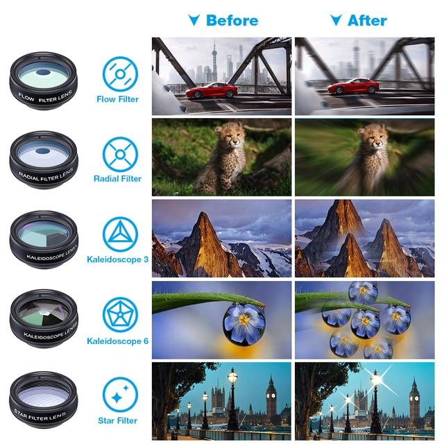 1 Set Lens 10 in 1 phone Camera Lens Kit Fish Eye Wide Macro Star Filter CPL Lenses for iPhone XS Mate Samsung HTC LG 3