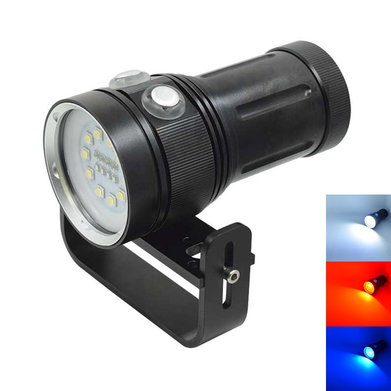 Powerful 30000LM Led Diving Flashlight 10x XML L2 White+4x Red+4x UV/Blue Light Underwater Video Photography Waterproof Torch waterproof diving light photography diver lamps camera flashlight 6x xml l2 4x xpe red 4x xpe blue led uv flashlight