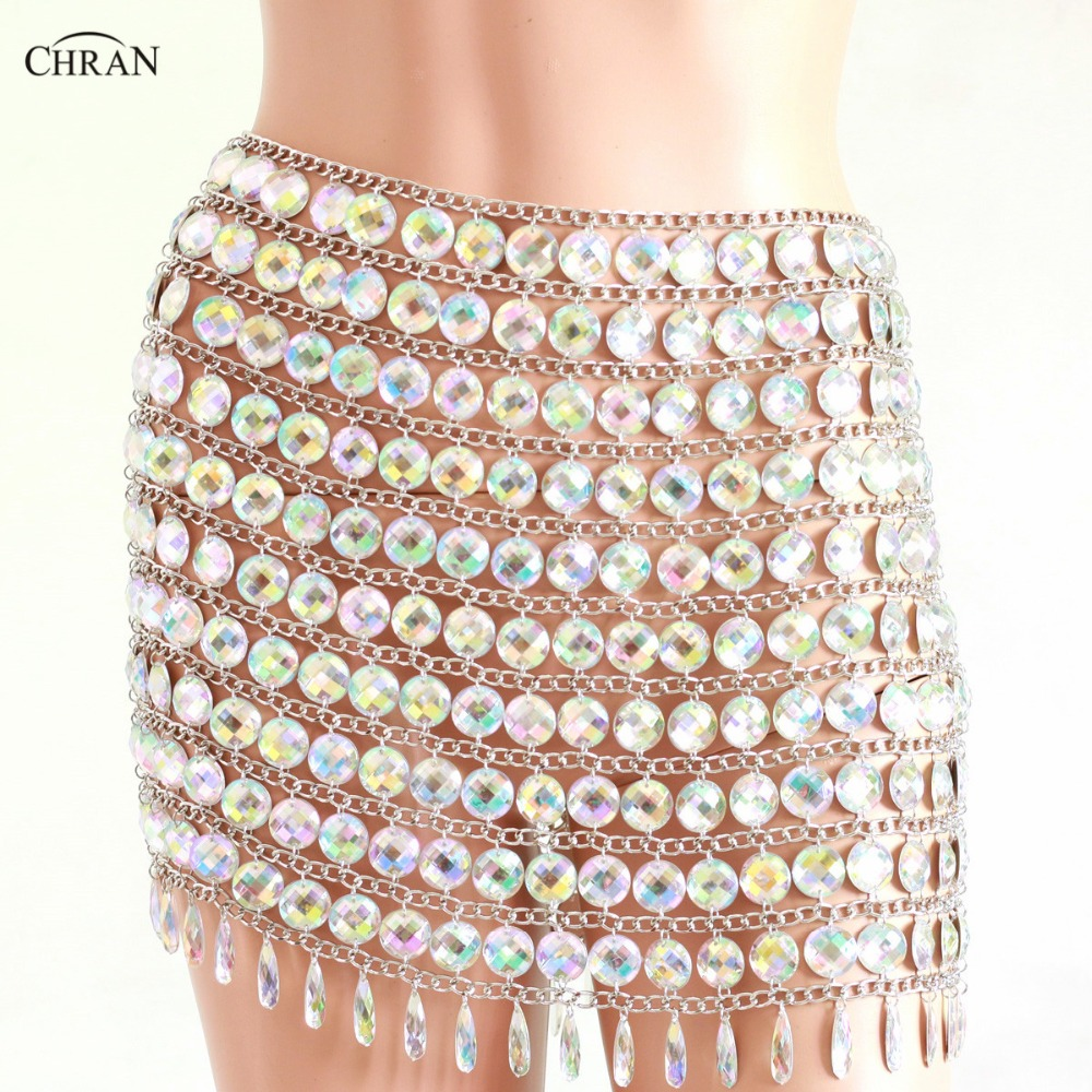 Chran AB Irridescent Beaded Skirt Lingerie Disco Party Mini Dress Beach Cover Up Chain Cape Necklace Bra Bralette Jewelry CRS216