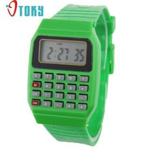 Novel design Unsex Silicone Multi-Purpose Date Time Electronic Wrist Calculator Watch White bb Dropshipping