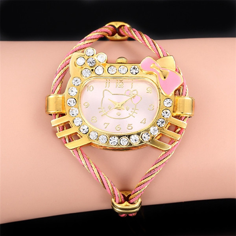 Children's Watch Girl Cartoon Bracelet Watch Gold-plated Irregular Dial Alloy Strap Luxury Diamond Quartz Clock Montre Enfant