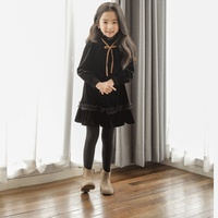 2018 New Girl Dress In Autumn and Winter, Solid Color Long sleeved Sweet Lace Princess Dress 4 14 Year Girls Christmas Dress