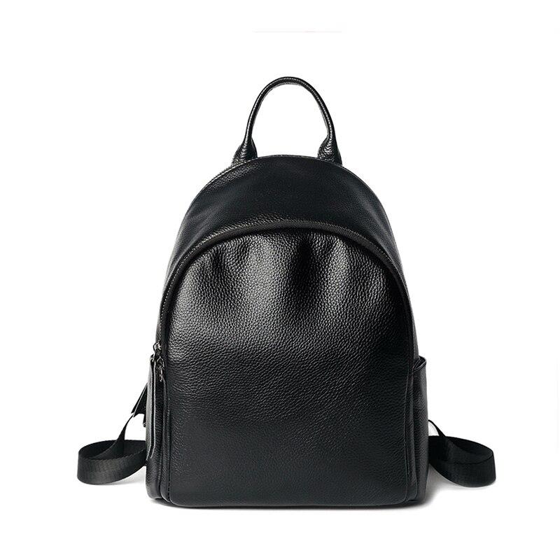 New Luxury 100% Real Leather Women's Backpack Teenager Girl School Bag Soft Cowhide Ladies Black Bagpack Travel Bag