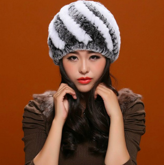 Luxury Real Rabbit Fur Hat Knitted Women Beanies Winter Thick Fourteen Color Available Warm Female Casual Wholesale High Quality