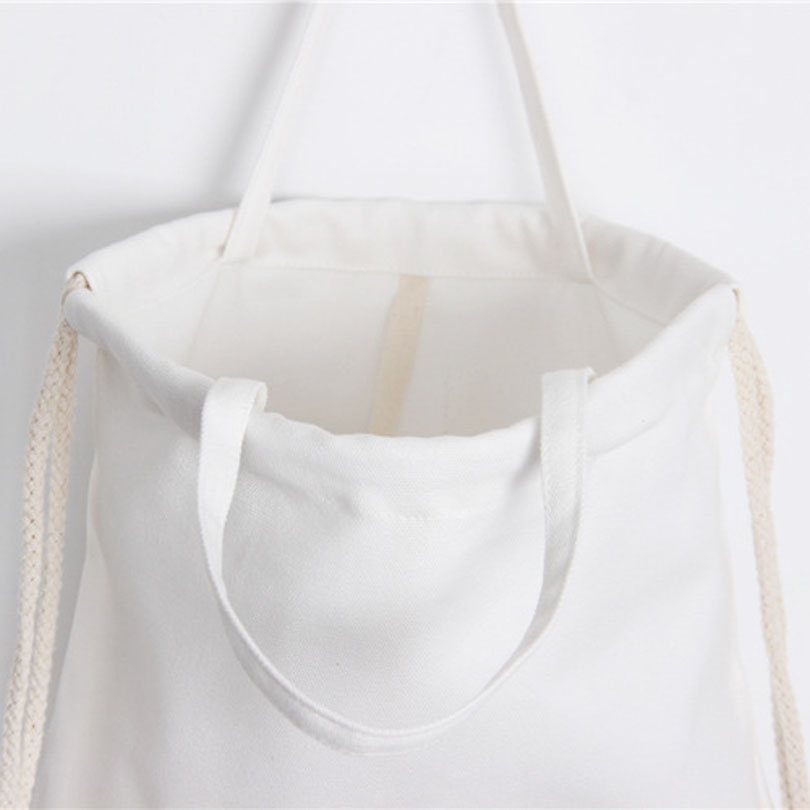 White Drawstring Bag Backpacks For Teenage Girls Fashion Women Cute Animal Print Rucksack Travel Softback String Pouch Sack Bags #5