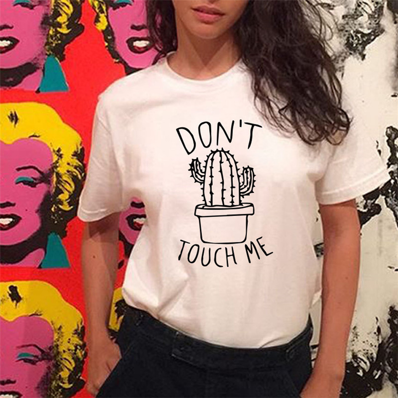 HTB1kzRWe21H3KVjSZFBq6zSMXXa6 - S-XXL DON'T TOUGH ME Cactus T shirt Women Casual Summer Tshirts Cotton Femme tops & tees Vintage Black White Red T-shirt Women