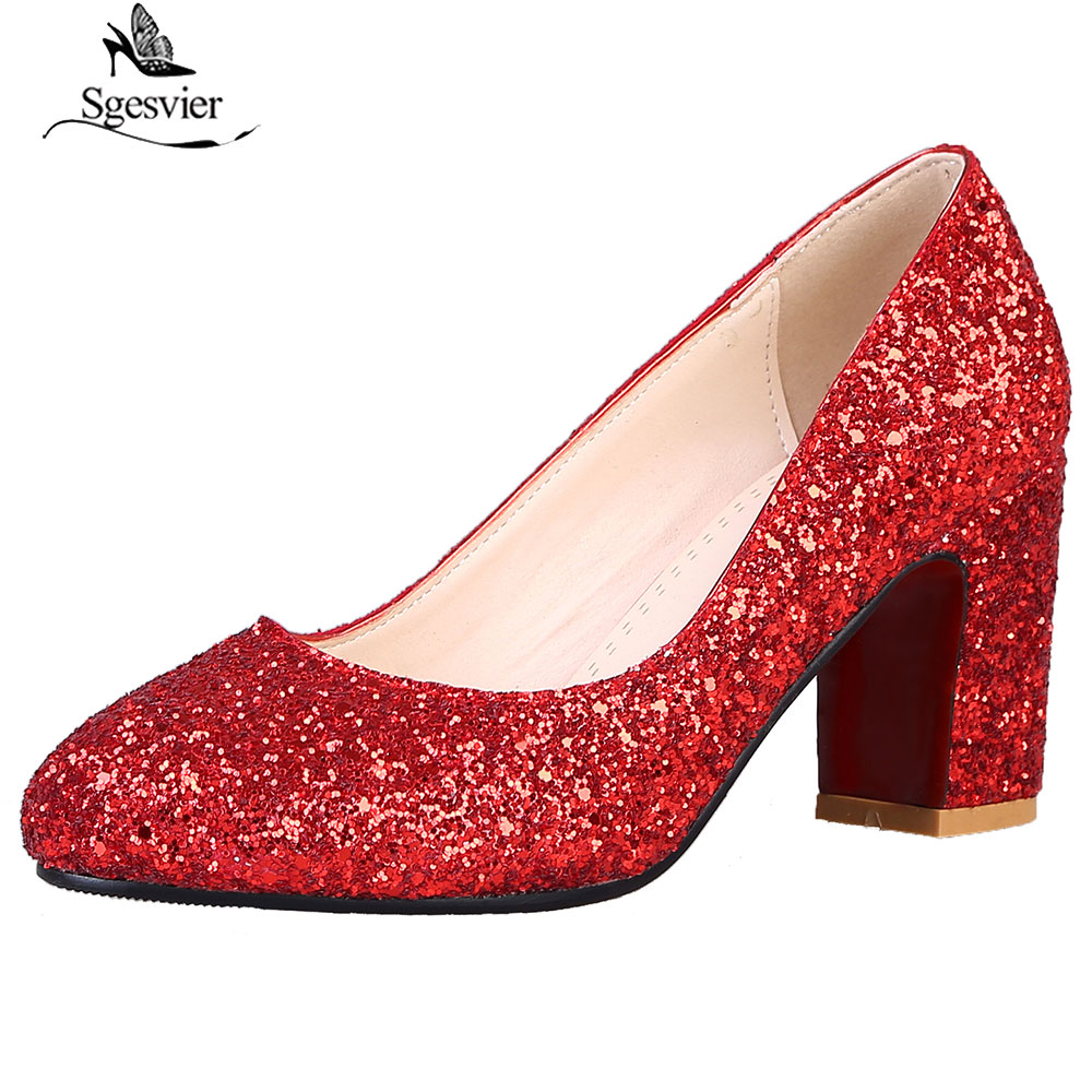 Sgesvier Red Gold Silver Round Toe Thick Heel Shoes Party Wedding Bride Fashion Glitter High Heels Shoes Woman Pumps B906