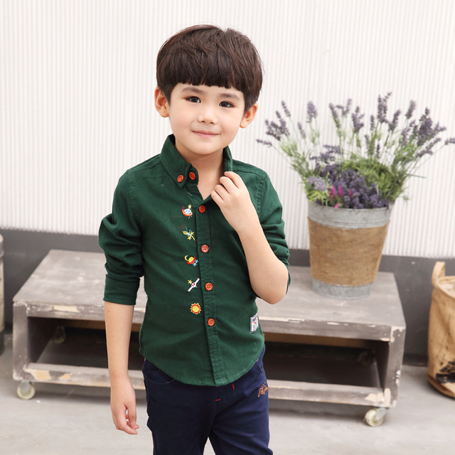2016 New Style Boys Shirts Casual Solid Kids Clothes Long Sleeve