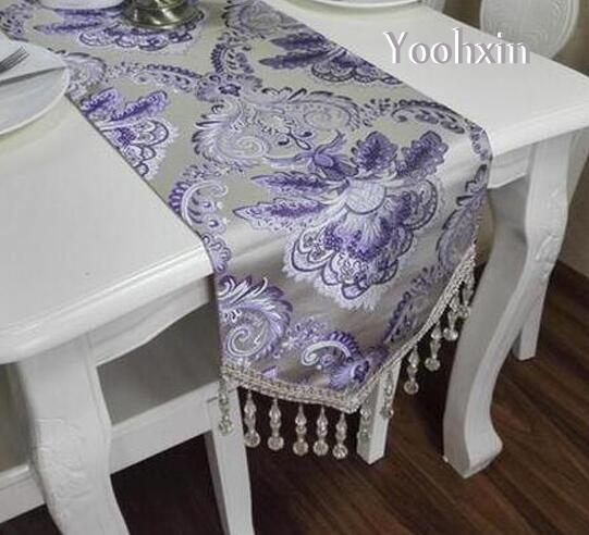 Luxury Gold Beads Table Runner Tablecloth Embroidered Table Cloth Cover  Mantel Tea Bed Runner Placemat Christmas Wedding Decor