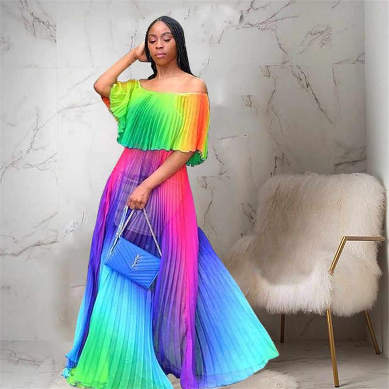 Цветное Плиссированное летнее платье Maix для женщин, Пляжное, градиентное, с принтом, шифоновый с открытми плечами, с рукавом-бабочкой, сексуальное, бохо, Vestido